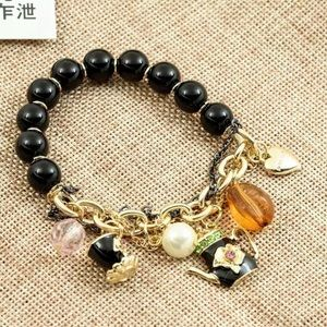NWT•Betsey Teatime partial stretch charm bracelet